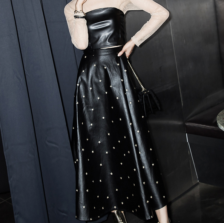 SK1996 Twinkle Starmix Leather Skirt
