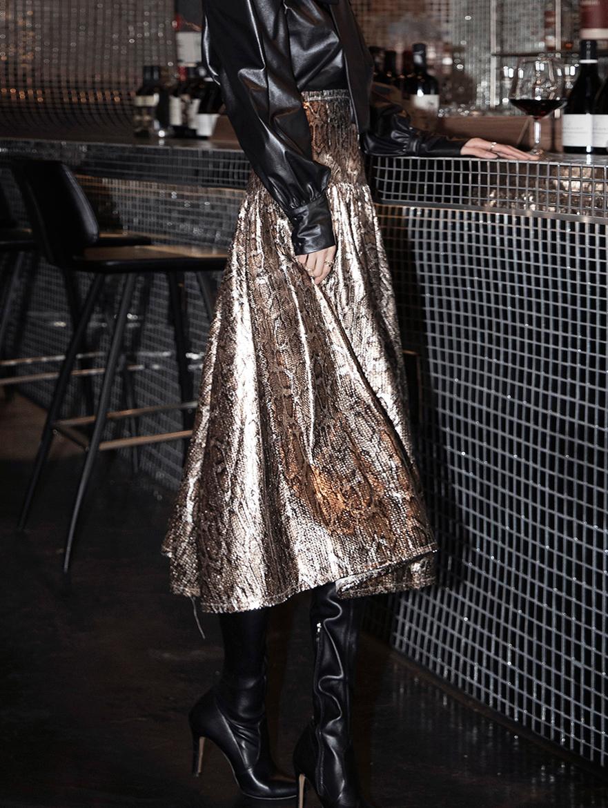SK1999 stony bling Leopard Skirt