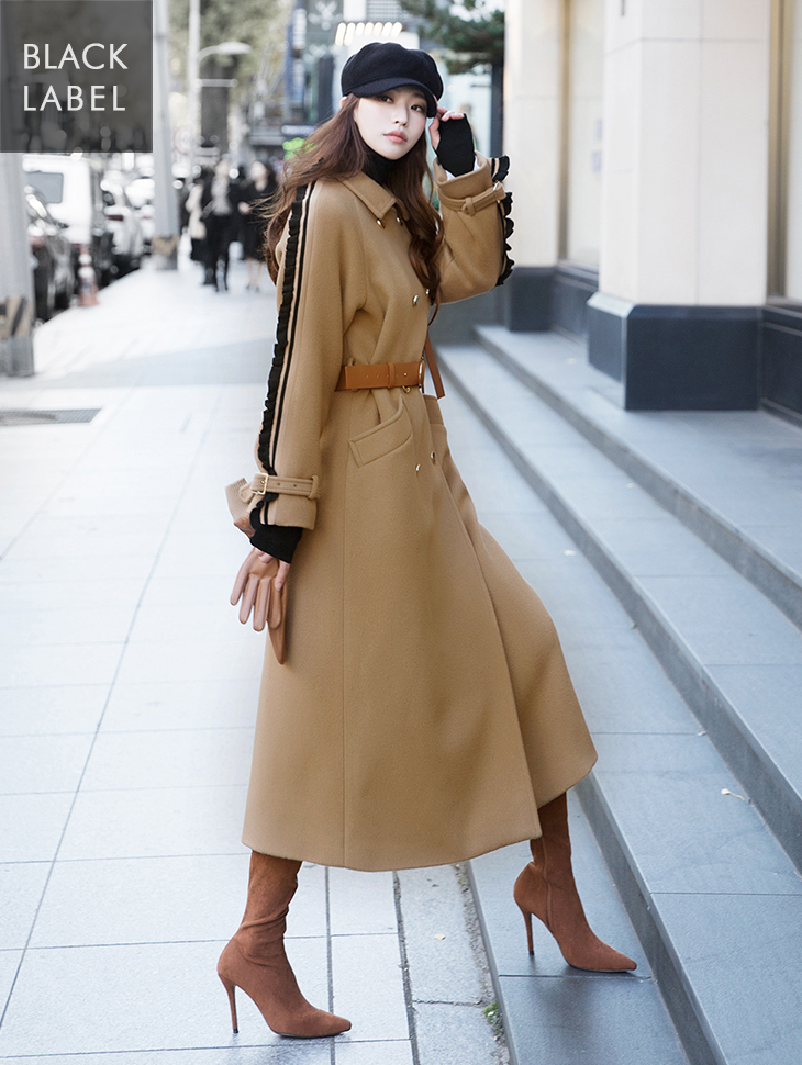 J861 Adrien sleeve frill wool coat (Belt SET) * BLACK LABEL *