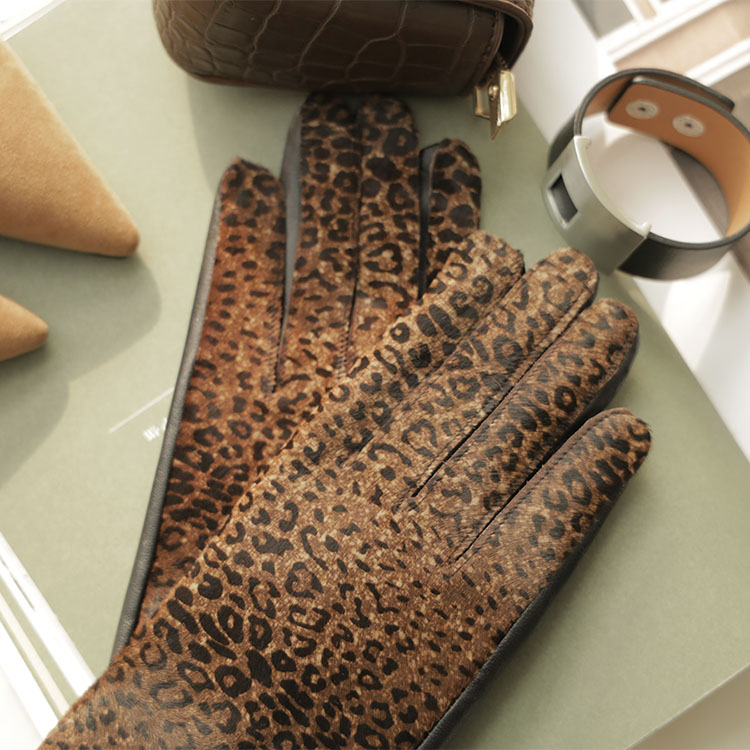 AH-144 Leopard Leather Gloves