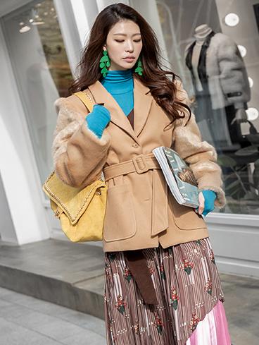 J869 Sleeve Fur point Jacket (Belt SET) * quilted lining *