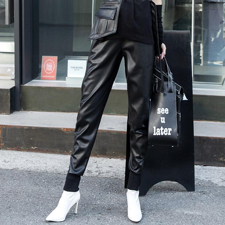 P2184 Sonyel unique Leather Jogger Pants (Belt SET)