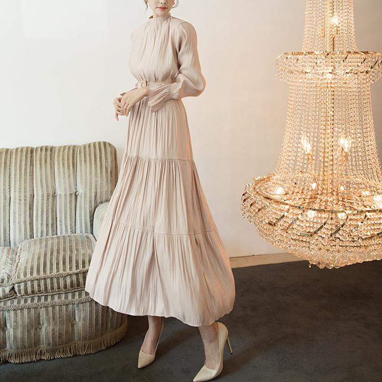 D3894 Kenia glossy Long Dress (Belt set) (3rd REORDER)