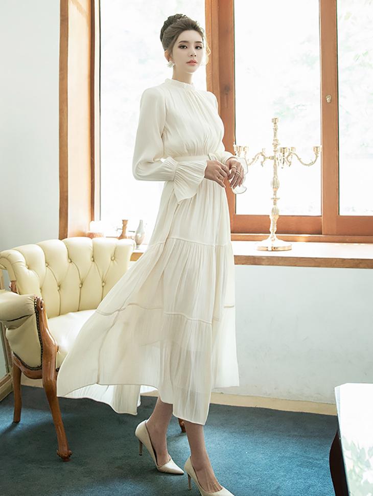 D3894 Kenia glossy Long Dress (Belt set) (6th order)
