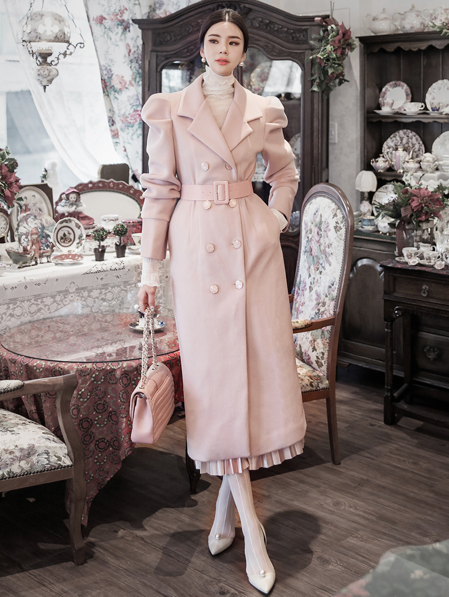 J879 Ribdellin Puff wool Coat (BeltSET) * Can be worn as a dress * (3rd REORDER)