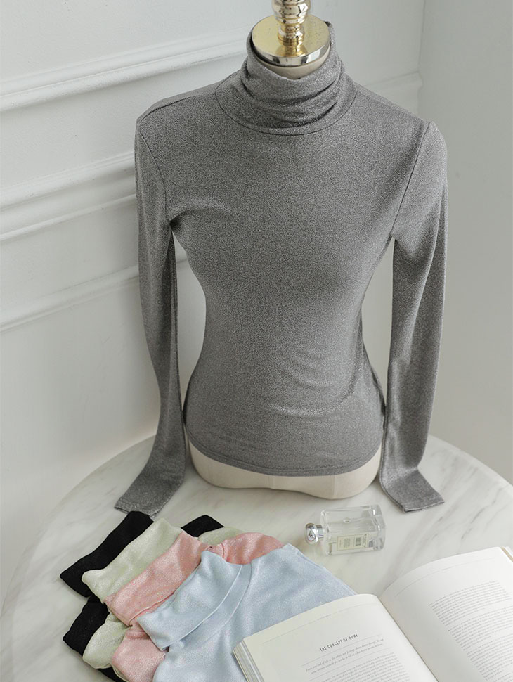E2136 glossy Basic turtleneck Top