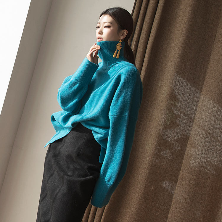 E2105 Tez overfit wool Knit turtleneck Top (14th REORDER)