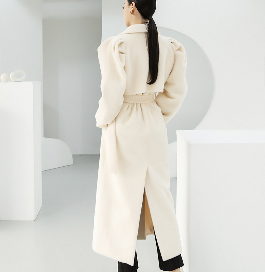J9037 Camilles Puff Maxi Long wool Coat (Belt set)