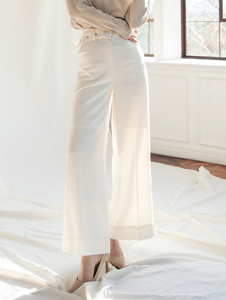 P2187 Tom wide wool Pants (Belt SET)