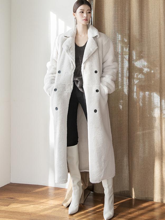 J877 Meyer Double-button Fur leather jacket