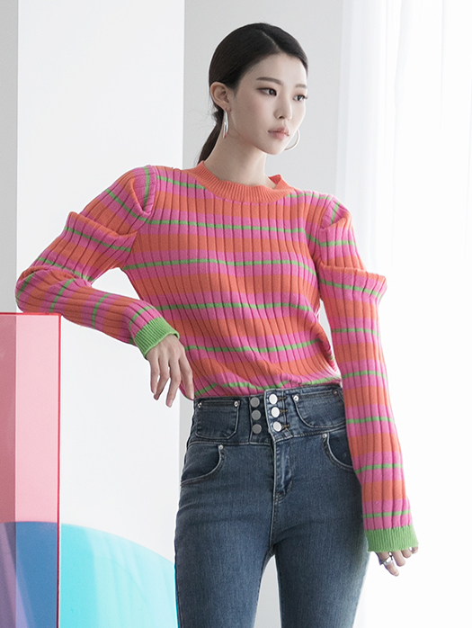 E2154 Color Color Knit Top (9th REORDER)