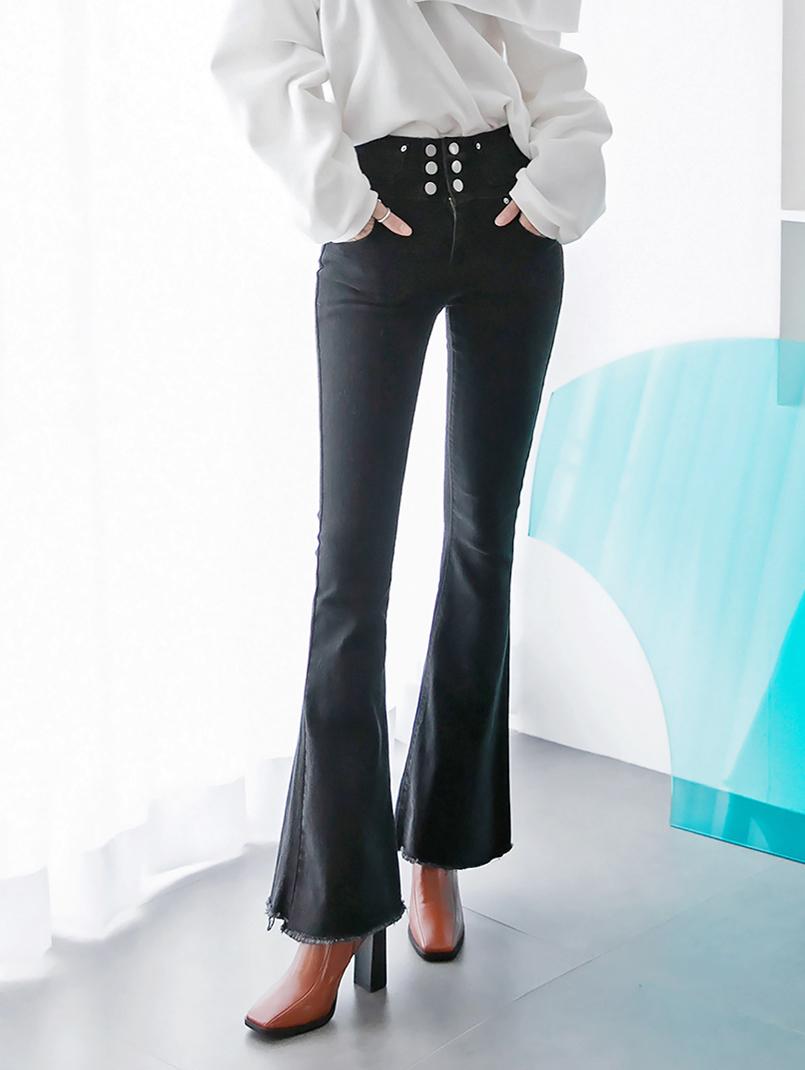 PJ390 feather Button boots cut Denim Pants * L size production * (17th referer)