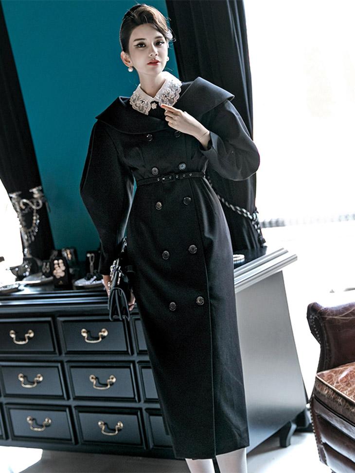 D3664 feminine volume Shawl Double Dress (Belt set) * outer wearable * (8th REORDER)