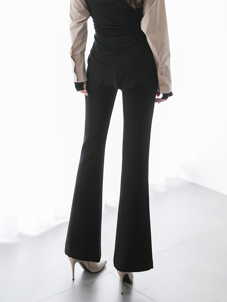 P2196 Florence High Waist Slit Line Pants