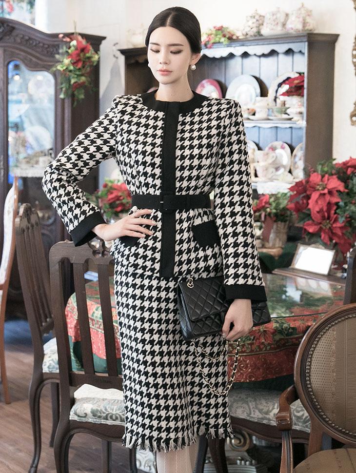 TP1033 Lelia wool Pattern two-piece (JACKETBeltSET)