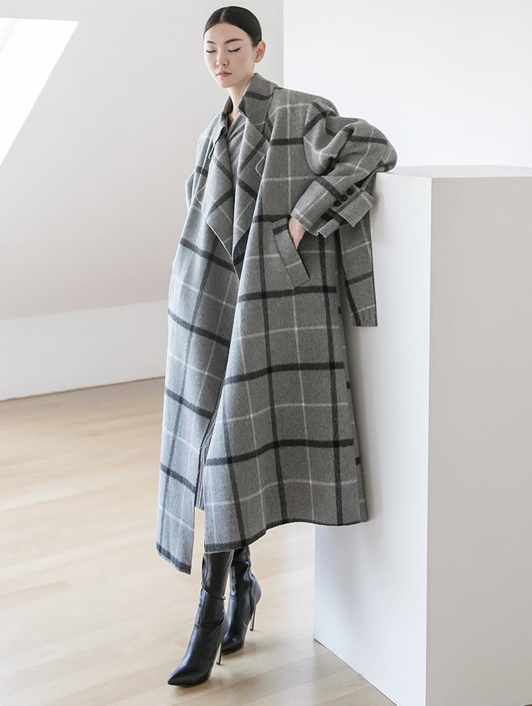 J891 Days Overfit Check wool Coat