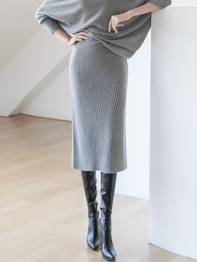 SK2008 Vertical Slim Cashmere Skirt