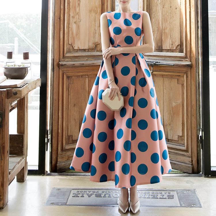D9077 Rosha Big-dot flare Dress (13th REORDER)