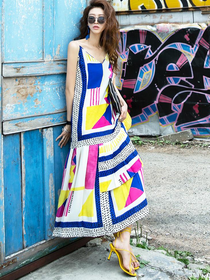 D3809 Ent Pleats Sleeveless Dress (6reorder)