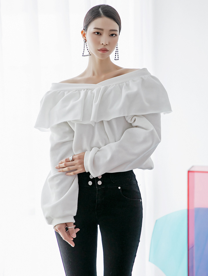 E2156 Lua Frill napping Off shoulder Top (12th referer)