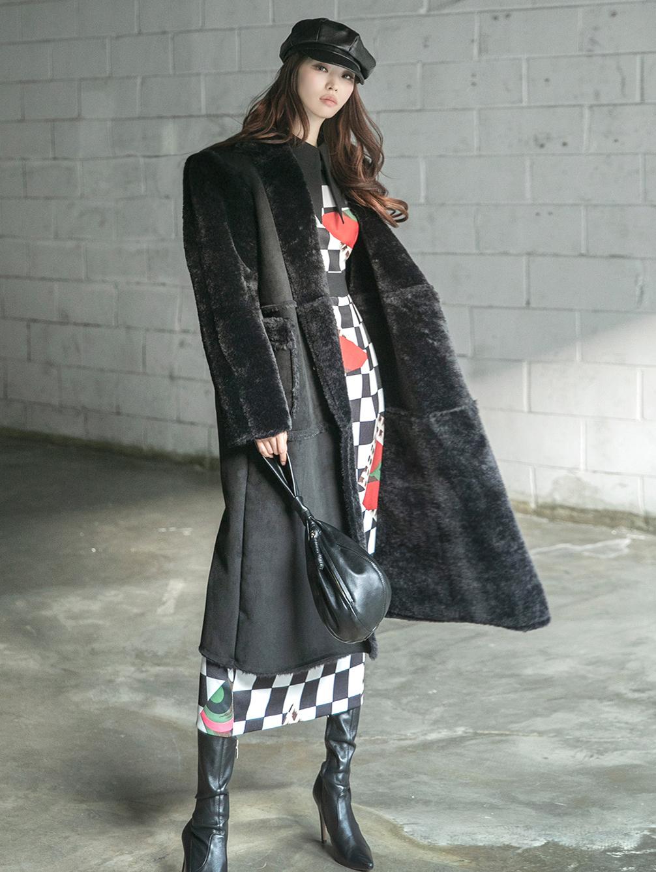 J894 art Long Fur leather jacket