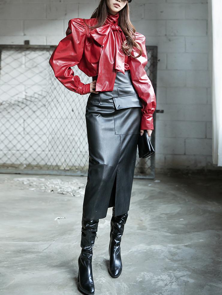 SK2014 Prince Leather Pocket Skirt