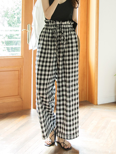 P2089 Whitney gingham check wide Pants (12reorder)