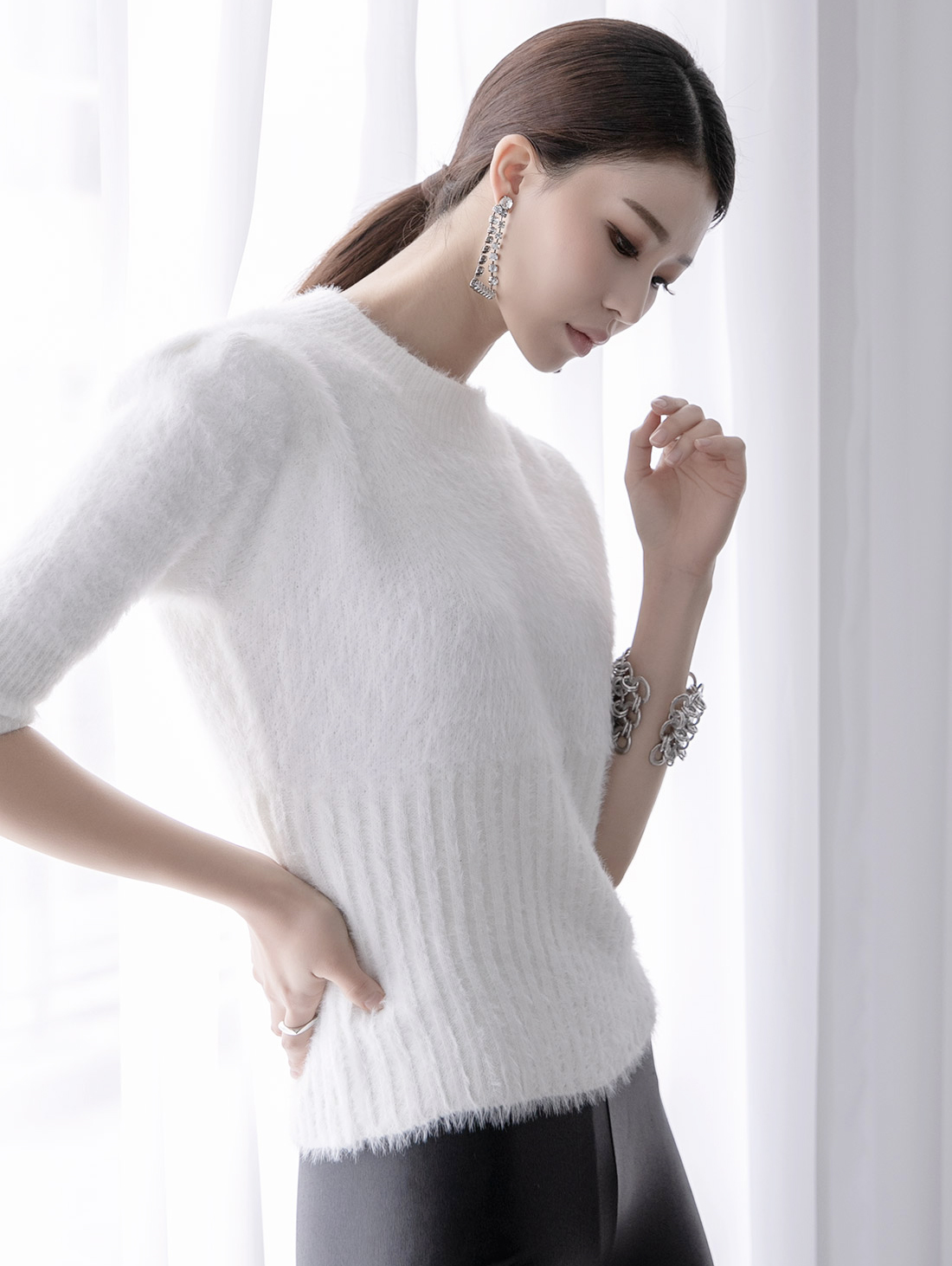 E2135 Simulation Half Sleeve Knit Top (9th REORDER)