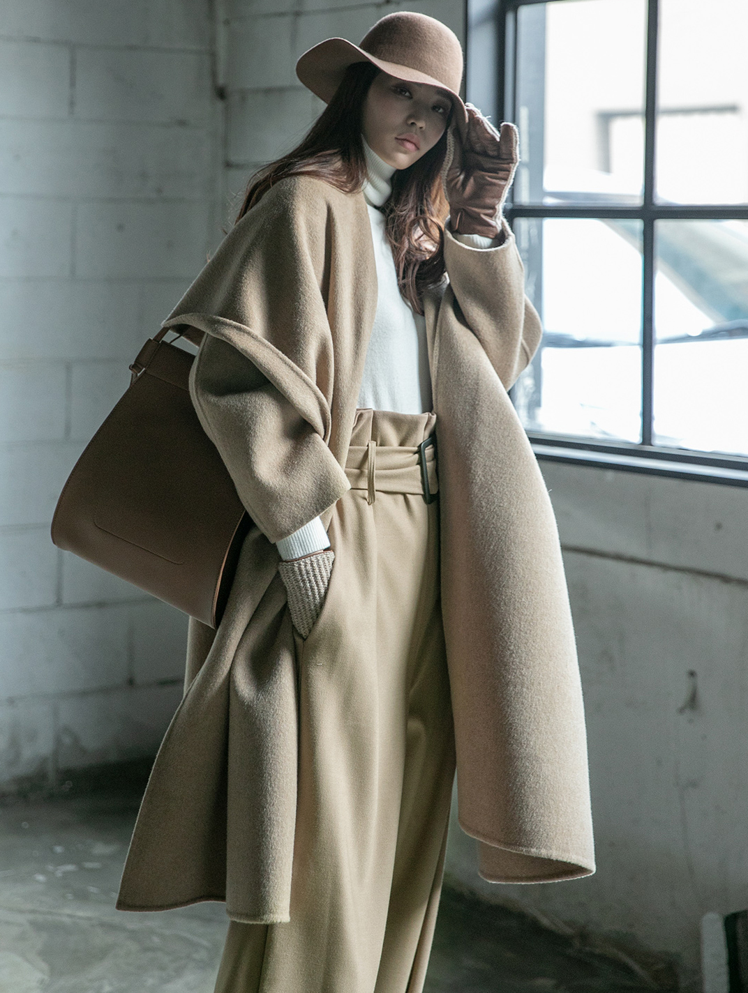 J855 Formal Under Shawl collar wool Coat (Belt set) * HAND MADE *
