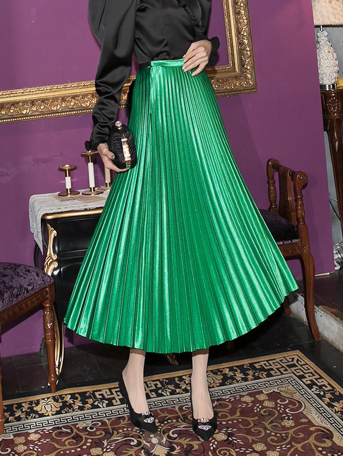SK2018 Ferran glossy pleats Skirt (3rd REORDER)