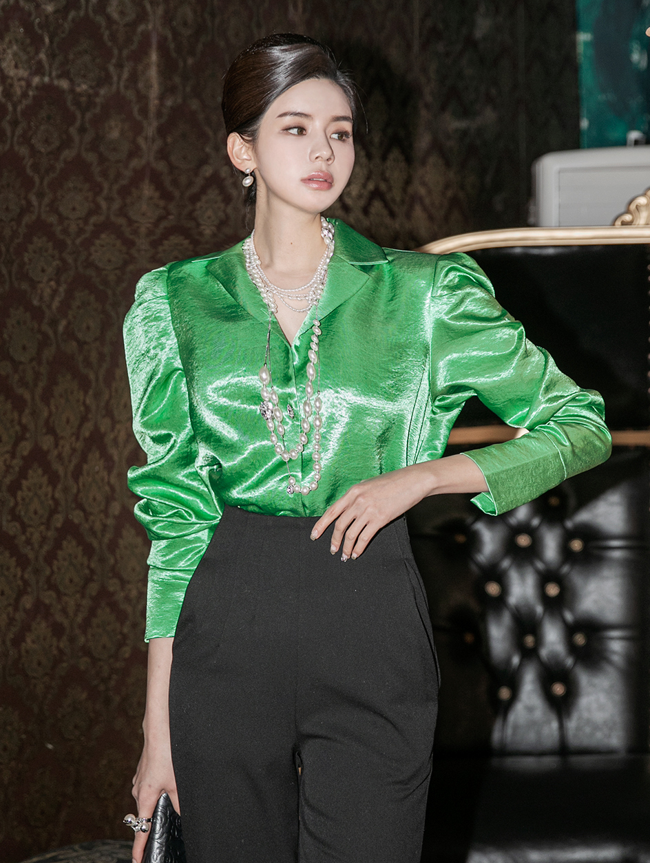 B2545 Jubi glossy Puff sleeve Blouse (3rd REORDER)