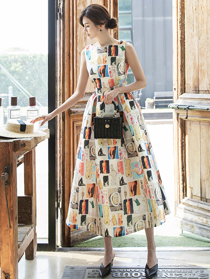 D9078 Awesome drawing flare Dress (10th REORDER)