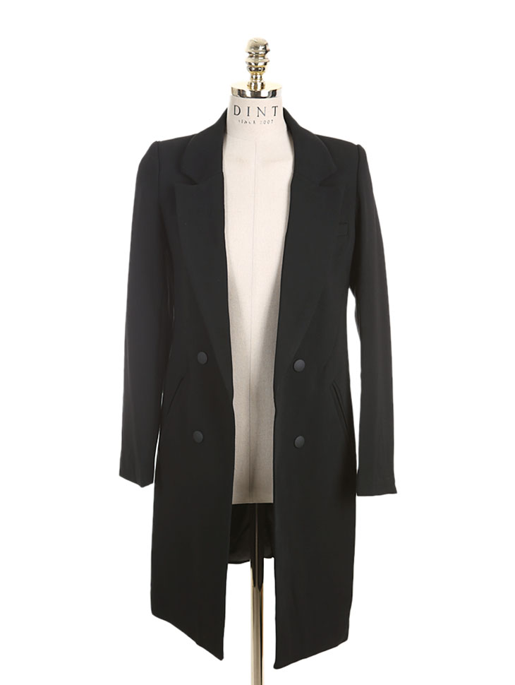 J-4084 Opening Double-button Long Jacket
