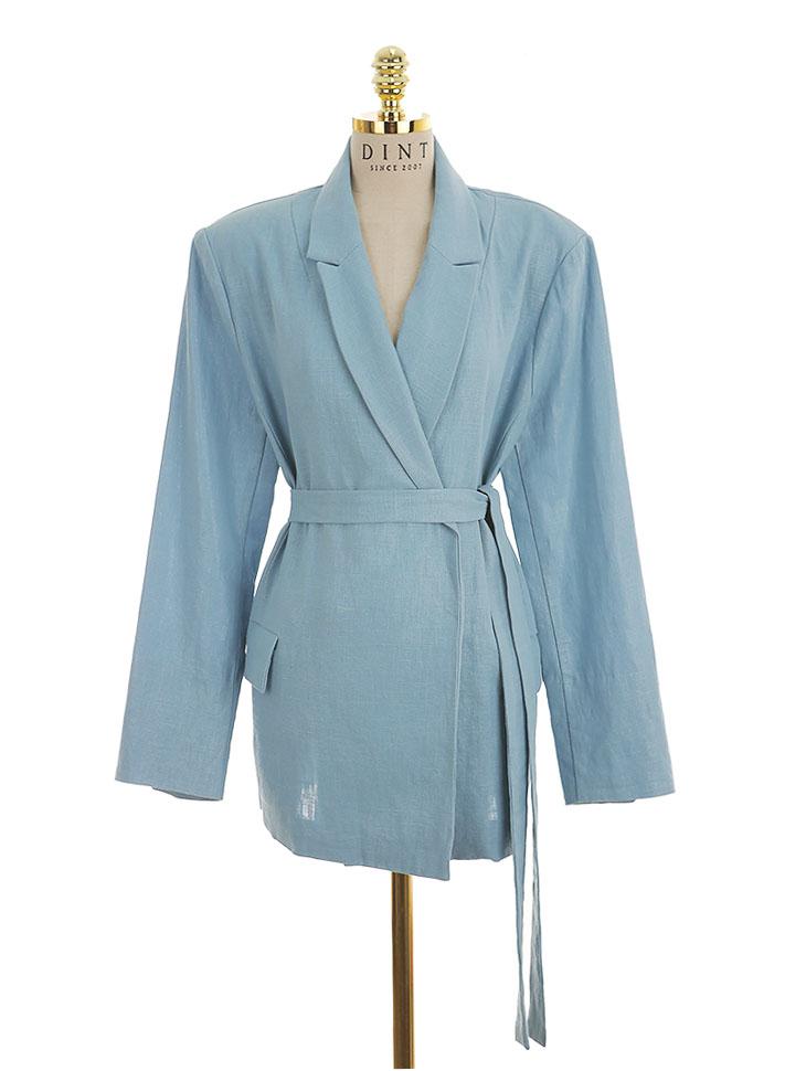 J-4928 over fit coating Linen Jacket (Beltset)
