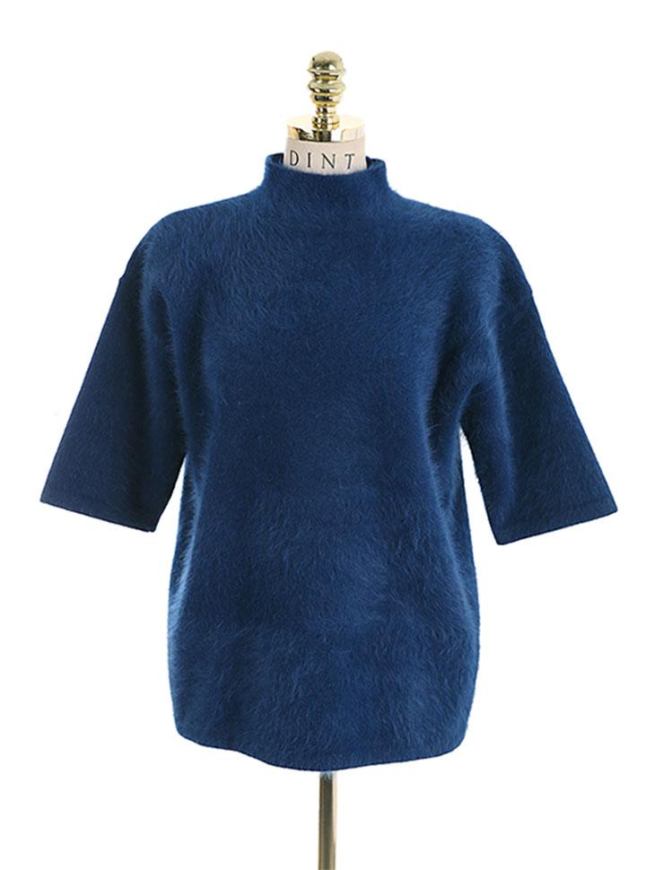 E-2937 crepe angora short sleeves knit