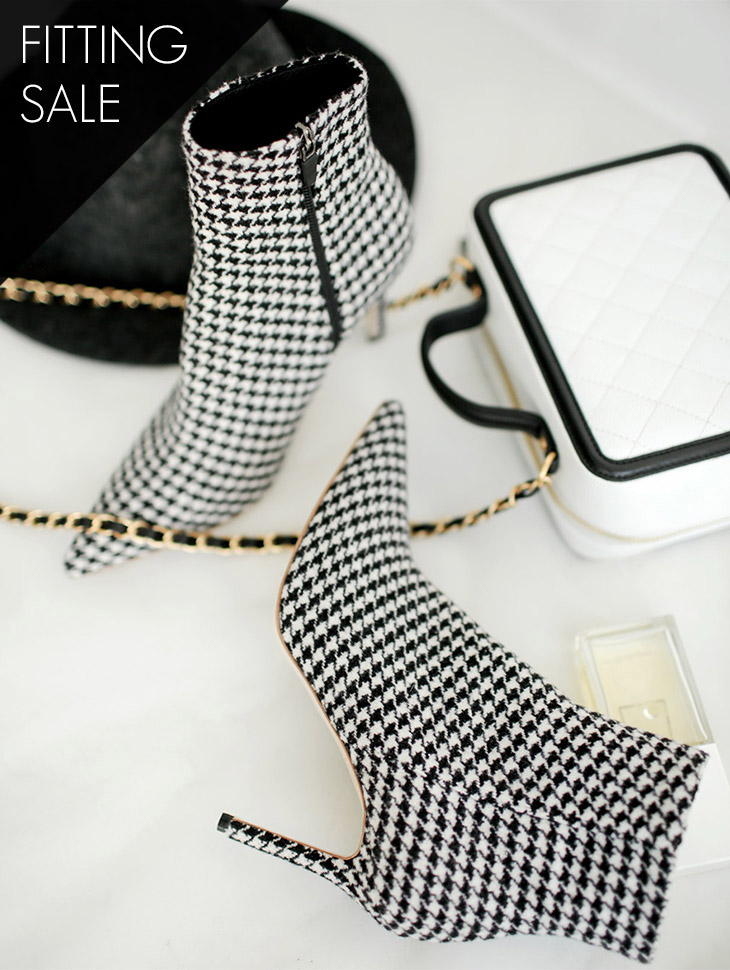 PS1751 chic Houndstooth Check Ankle Heel * HAND MADE * Fitting Sale *