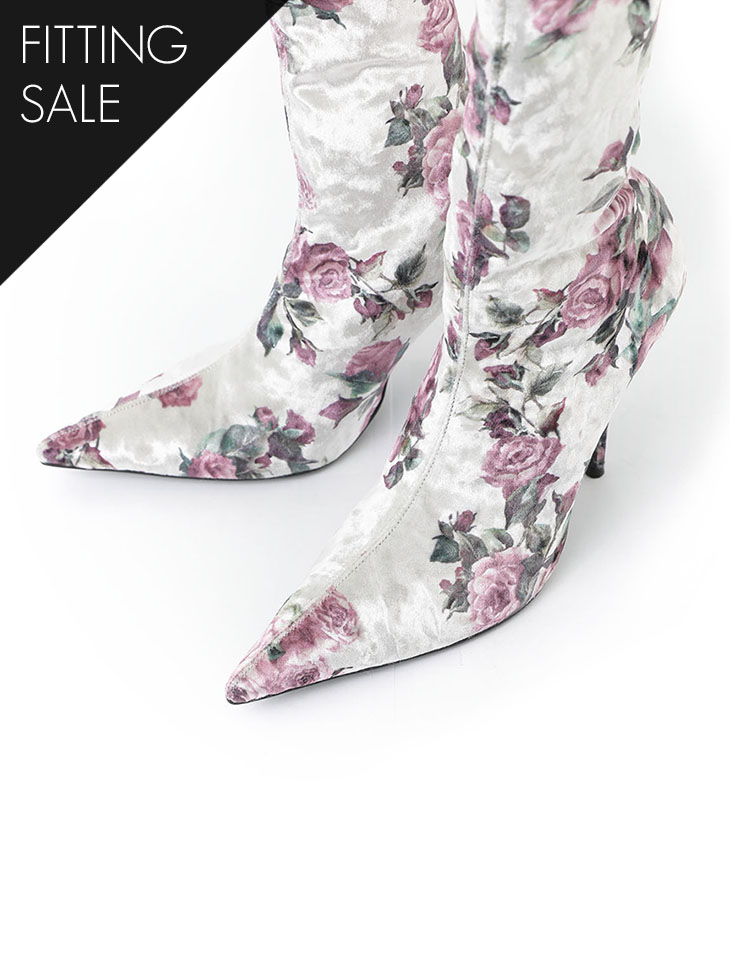PS1752 femin Flower ankle boots heel * HAND MADE * fitting sale *