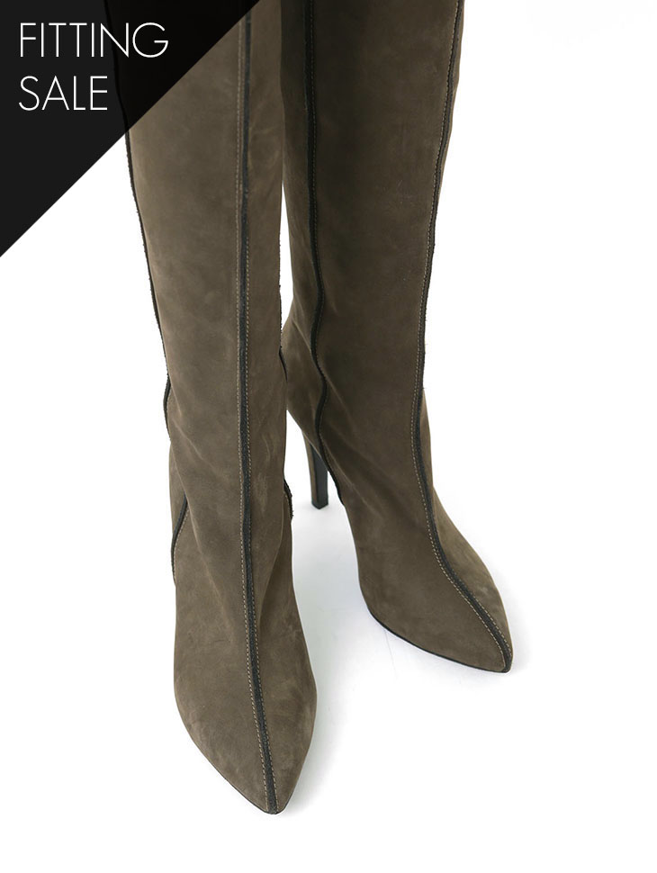 PS1755 Suede slimline over knee Boots heel * HAND MADE * fitting sale *