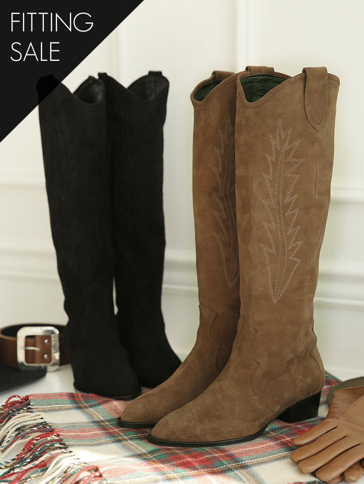 PS1759 Embroidered Suede Boots * HAND MADE * Fitting Sale *