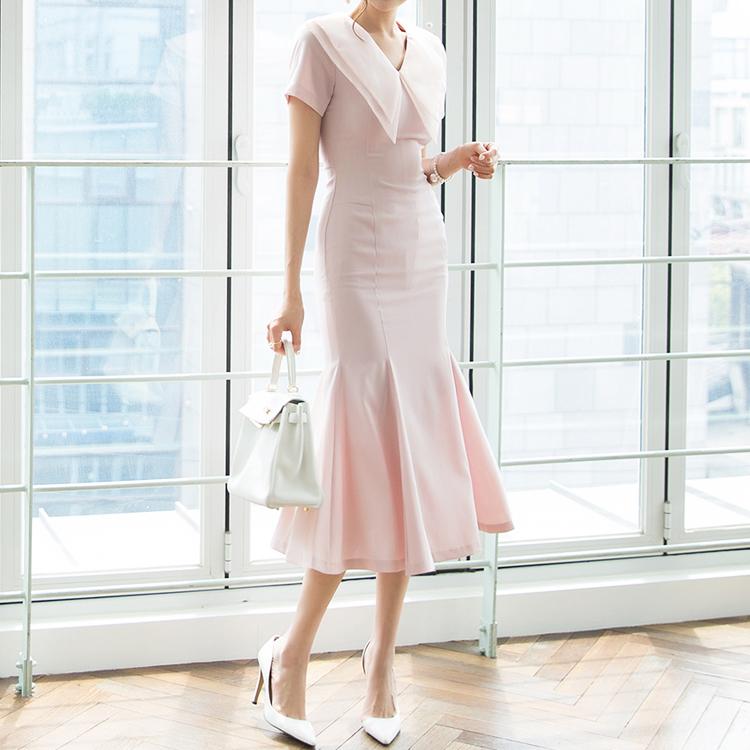 D3870 Seren Chiffon Two collar Dress * L size production * (9th REORDER)