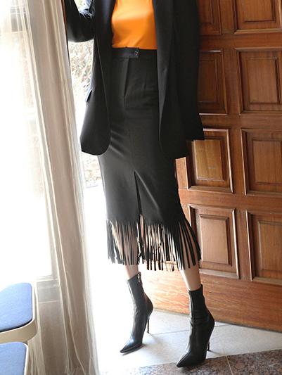 SK2025 caisson fringe one slit skirt