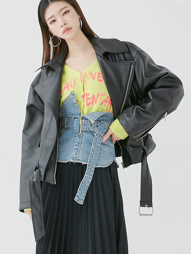 J917 Freedom Crop Leather Jacket (Belt set)