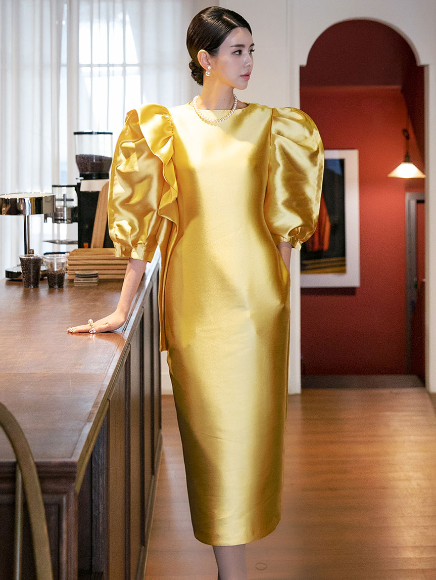 D9132 Coryl Colorful Puff Shirring Dress