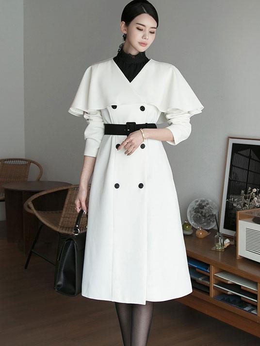 D3988 Shar pull Dress (Belt set) * can be worn in outerwear *