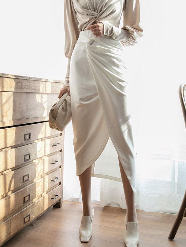 SK2030 Lily Draping Slit Skirt