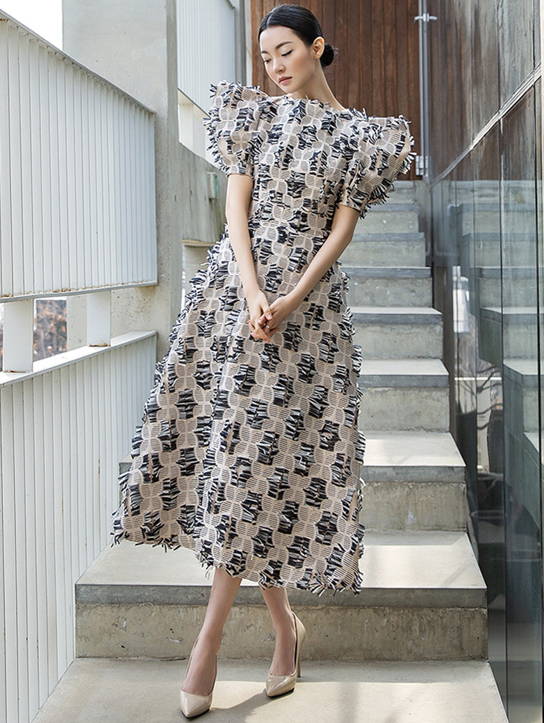 D9061 Double Mix Braid Puff Dress (10th REORDER)