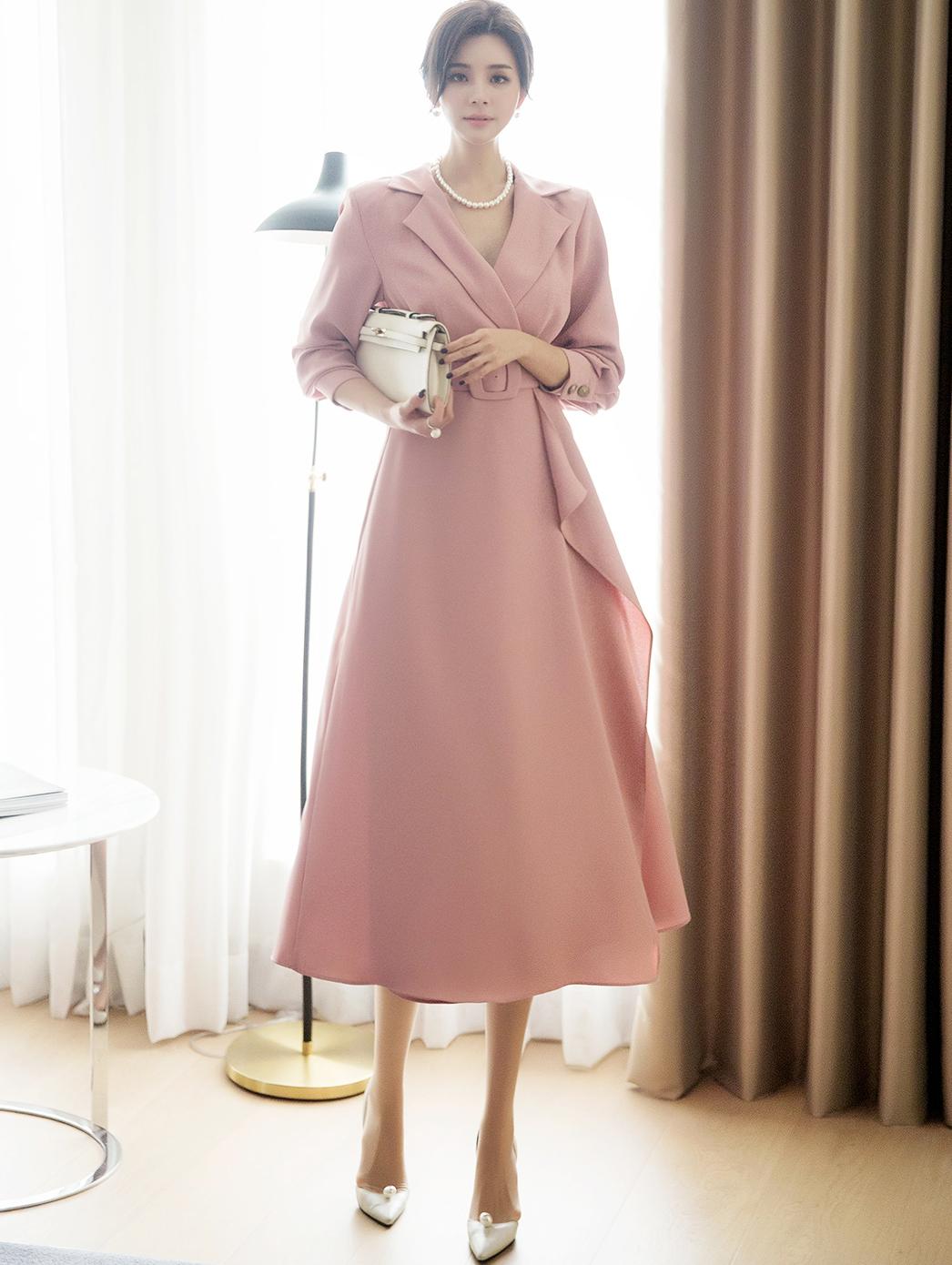 D3920 feminine Line Collar pull Dress (Belt set) (6th order)