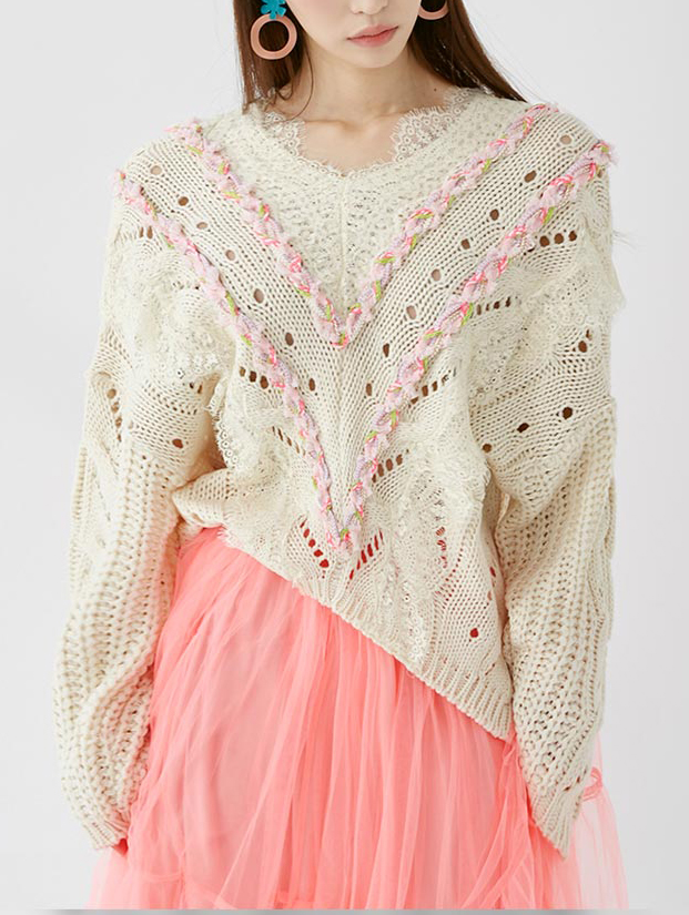 E2174 V-line Lace trimimg Knit Top(7th REORDER)