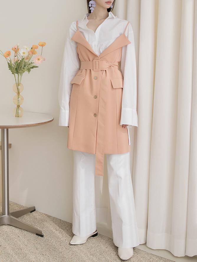 D3992 시후 layered Trench Short Dress