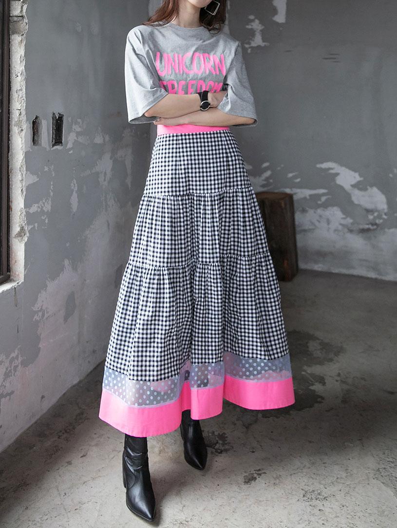 SK2039 리안느 Neon Pattern Point skirt(12th REORDER)